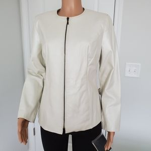 Leather jacket pearl ivory